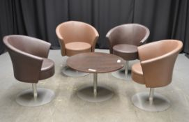 4x Brown (2 different tones) Swivel Tub Leather effect Tub Chairs with Brown Table with me