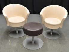 2x Light Brown Leather Effect Swivel Tub Chairs with Dark Brown Stool