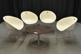 4x Plastic Tub Chairs with Brown Table with metal base