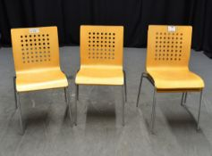 4x Wooden Chairs with Chrome Effect Legs