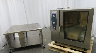 Rational CMP 102 G CombiMaster Plus combi oven with stand. Gas. 2019. Ex Demo. Tested and working.