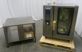 Rational SCCWE101 10 grid combi oven with stand. 2017 model. Ex Demo. Tested and working.
