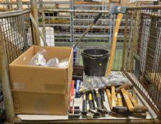 Hand Strap Tensioner, Bucket, Edmundson Abrasive Belt, Various Hand Tools - Axe, Hammers,
