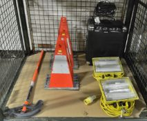 2x Working Light Heads 110v, 2x Foldout Warning Marker Units, Klein Tools 3/4in EMT Condui