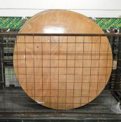 7x Round Wooden Tables with folding legs - 5ft diameter