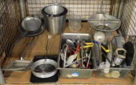 Utensils, pans, fryer baskets, sieve