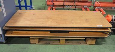 4x Wooden Tables with folding metal legs - 6ft x 2ft 6in