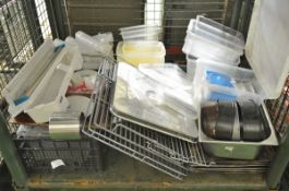 Fridge shelves, plastic bottles, plastic trays, paper plates, cake tins