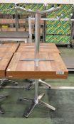 4x Bolero Square Table Tops Dark Urban / Alum Base 700mm x 700mm x 730mm