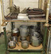 Pots, pans, fryer baskets, griddle tops, burners