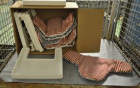 High chair tables (no legs), striped covers
