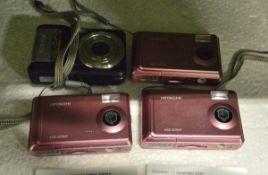 3x Hitachi digital cameras, 1x Fujifilm digital camera