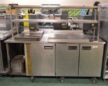 Refrigerated counter - 3 door, with shelves, and double front shelves