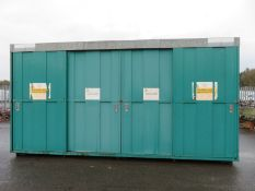 2 Tier bunded chemical storage container with 4 sliding doors - 600ft x 165 x 320cm Extern