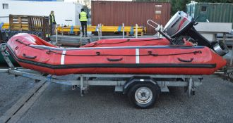 Avon ERB 400 Pro Inflatable Boat with Mariner 30 Onboard Engine on Brambr Trailer