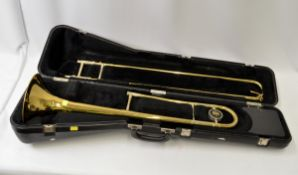 King Model 606 Trombone with Case. Damage to bell. Serial No. 483668 - A 1438.