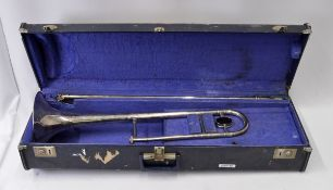 Boosey & Hawkes Trombone with Case. Damage to end of slide tube. Serial No. 655399.