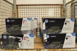 13x HP LaserJet 502A Q6473 Magenta Print Cartridges, 7x HP LaserJet 501A Q6470A Black Prin