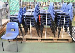 44x Blue Plastic Stacking Chairs