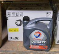 Total Quartz 5W-30 engine oil - 3x 5L bottles - 2 boxes