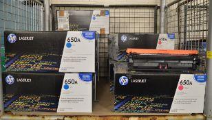11x HP LaserJet 650A CE271E Cyan Print Cartridges, 7x HP LaserJet 650A CE273A Magenta Prin