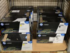 9x HP LaserJet 650A CE272A Yellow Print Cartridges, 8x HP LaserJet 650A CE270A Black Print