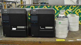 2x Sato CL4NX printers with sticker labels, spring kraft knives