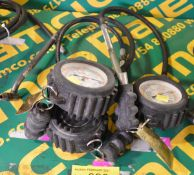 3x Self Centered Tyre Pressure Gauges - Damaged display