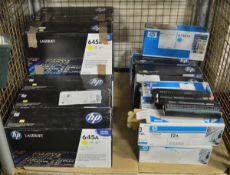 9x HP LaserJet 645A C9732A Yellow Print Cartridges, 4x HP LaserJet Q7581A Cyan Print Cartr