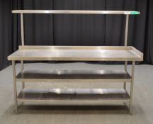 Stainless Steel Preparation Table with Shelves - L1800 x D600 x H1450mm