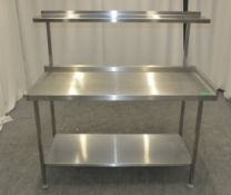 Stainless Steel Preparation Table with Shelves - L1500 x D700 x H1490mm