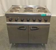 Lincat ESLR9C 6 Plate Electric Range Oven with rear castors - 400v