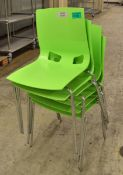 6x Plastic Chairs - Green