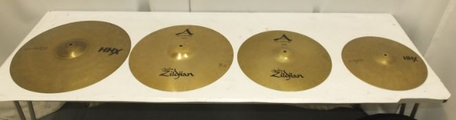 "16"" & 18"" Zildjian A Custom Crash Cymbals (dent to 18"" rim), Sabian 14"" HHX Evolution Hi-Hats & more"