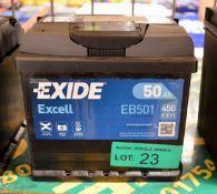 Exide Excell EB501 12V 50Ah 450A Battery