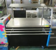 Servery counter with tray rail - 1200mm x 750mm x 1460mm
