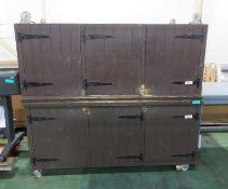 2x Mobile wooden bar units - 2035mm x 950mm x 955mm