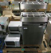 3x Microwaves, Fosters single door fridge, cutlery stand