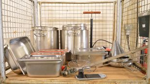 Catering equipment - stainless pots. sieves, dishes, gastronorm pans, tin opener