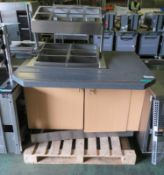Servery Unit with Storage & Tray Rail (as spares) - L1320 x D1055 x H1420mm