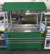 Mobile servery counter with tray rail - 1200mm x 750mm x 1660mm