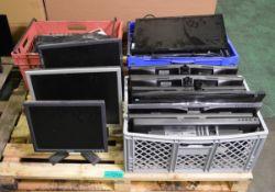 Various computer monitors & keyboards