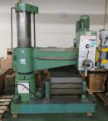 Bergonzi TM50 Series 3 Radial Arm Drill Machine - damaged front wheel - with machine block