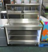 Servery counter top with under counter storage - 1150mm x 700mm x 1500mm