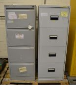 2x 4 Drawer Filing Cabinets L 470 mm x W 620 mm x H 1320mm - combination unknown