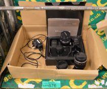 Black magic design digital cameras, TV lens 16mm 1:1.6, Olympus OM-system 50mm lens 1:1.8