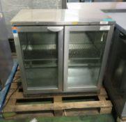 Precision double door glass fronted fridge - 900mm x 500mm x 900mm