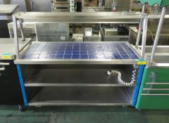 Heated servery counter with tray rail - 1500mm x 780mm x 1340mm
