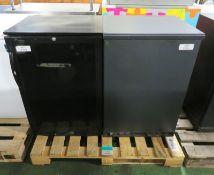 2x Single door fridge units - 600mm x 500mm x 900mm