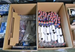 Vehicle parts - WD40 tins, brake clean applicator sprayers, screenwash, multi rib belt, le